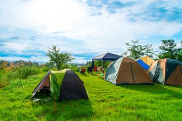 Tuinposter Kamperen 写真素材:キャンプ、テント、キャンプ場、レジャー