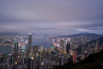 Night view from Lugard Road, Hong Kong
