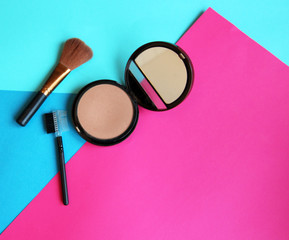 background cosmetics powder brush blue pink orange
