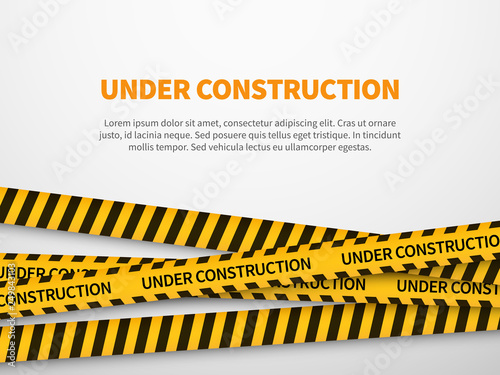 Under construction page  Caution yellow tape construct