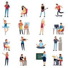 People hobbies. Photographer happy teenage artist writer illustrator designer cartoon vector set