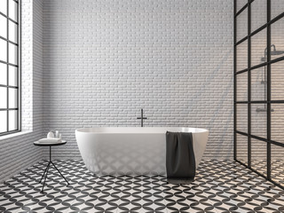 Scandinavian loft style bathroom 3d render,There are white brick wall, black and white tile floor pattern, There are black metal frame window nature light shining into the room. Fototapete
