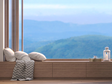 Window seats with blurry natural views 3D render,There are wooden floors, Decorate with fabric pillows and white lamps,There are wooden folding windows overlooking the mountains view.