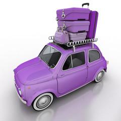Compact car on holidays purple