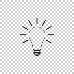 Light bulb with rays shine icon isolated on transparent background. Energy and idea symbol. Lamp electric. Flat design. Vector Illustration