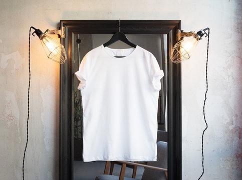 Mockup of a white t-shirt