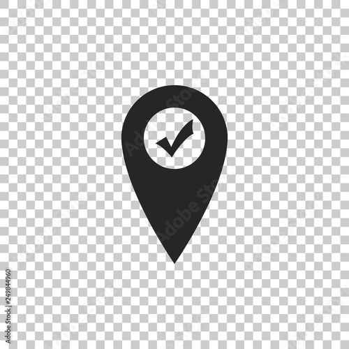 Map pointer with check mark icon isolated on transparent background