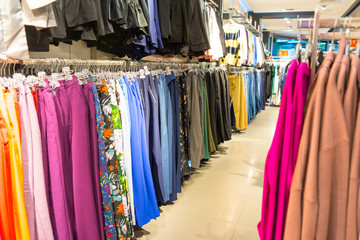 Women's clothing in the store. colorful women's clothing.