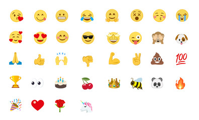 Emoji vector set. All emojis with gesture. Birthday cake, monkey, unicorn, poop, love, angry, kiss, smile, victory vector emoji set. All type of emojis