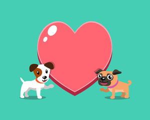 Cartoon character jack russell terrier dog and pug dog with big heart for design.