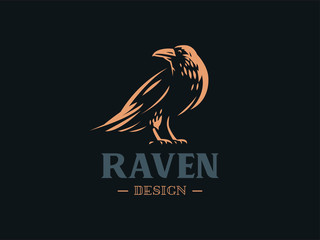 The raven sits on its paws.