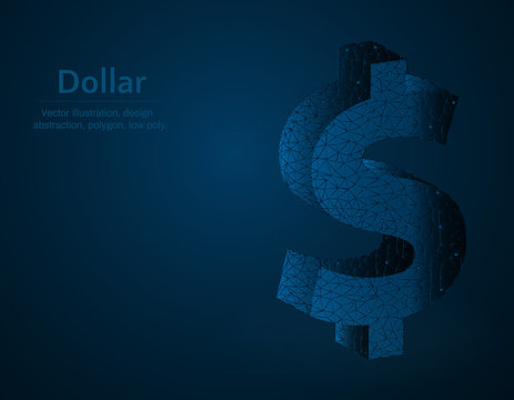 Dollar symbol low poly vector illustration, currency polygon abstract background