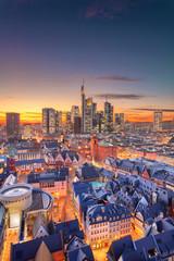 Fototapete - Frankfurt am Main, Germany. Aerial cityscape image of Frankfurt am Main skyline during beautiful sunset.