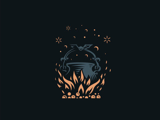 Magic cauldron. A magical potion.