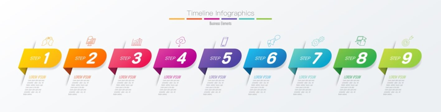 Timeline infographics design vector and business icons with 9 options.