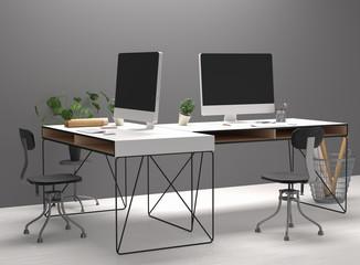 Workspace mockup, 3d render