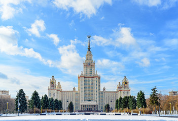Moscow State University in winter front view.