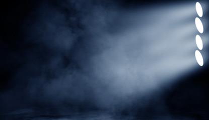 Projector spotlight on the floor . Beautfiul blue performance stage. Isolated on black background overlays.