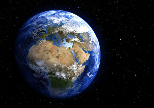 The Earth from space showing Europe and Africa. Stars in the background. Elements of this image furnished by NASA