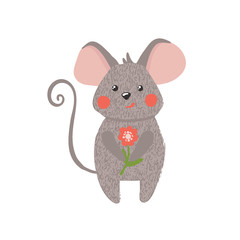 Cute hand drawn mouse isolated on white.
