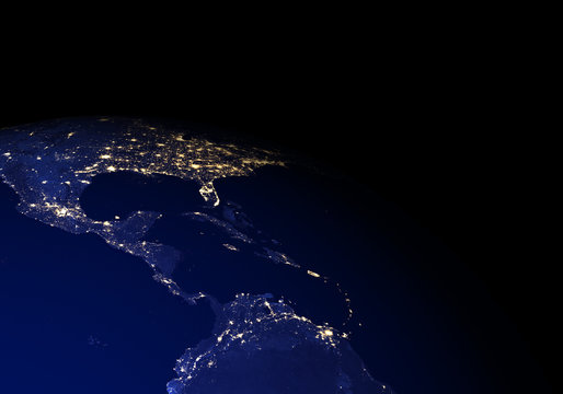 The Earth from space at night. Central America, Mexico, Caribbean. Elements of this image furnished by NASA.