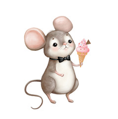 cute drawing mouse with ice cream on a white background