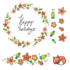 Happy holiday. Spring. Gentle flowers on a white background pastel colors. Seamless brush, wreath. Fox. Doodle