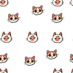 Seamless pattern with cats on a white background. Doodle.