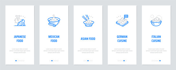 Japanese, Mexican, Asian, German, Italian food Vertical Cards with strong metaphors.