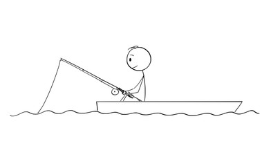 Cartoon stick figure drawing conceptual illustration of fisherman fishing on dory or small boat on calm water.
