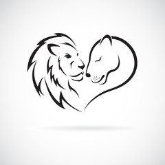Male lion and female lion design on white background. Wild Animals. Lion logo or icon. Easy editable layered vector illustration.
