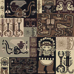 Seamless pattern with ornament in the style of the Peruvian bedspread.
