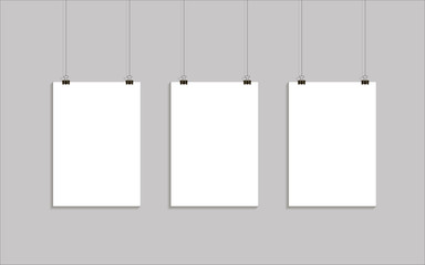 Vector template of poster on clips . Vertical blank A4 mock up advertising banner