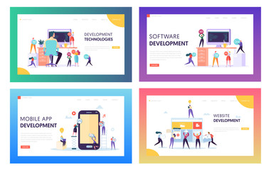 People Character Make Software Development Landing Page. Programming Code on Smartphone and Computer Screen Set. Coding Concept Website or Web Page. Flat Cartoon Vector Illustration