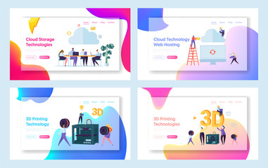 People Work in Cloud Space Landing Page. Male and Female Character Make 3D Technology Printing Set. Hosting Website or Web Page. Teamwork Management Flat Cartoon Vector Illustration