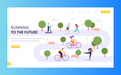 People in Sport Uniform Do Sports Landing Page. Male And Female Character Activities in Park Landscape Running, Riding Bike, Roller Skating Website or Web Page. Flat Cartoon Vector Illustration