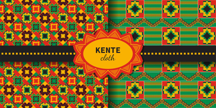 Set of tribal seamless patterns. Cloth Kente.