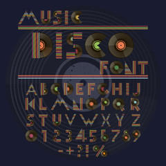 Music disco retro font. Alphabet and numbers with vinyl records.
