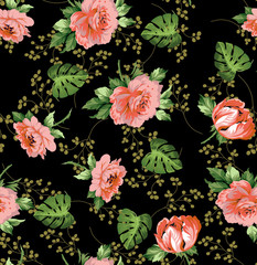 Seampless flower ditsy classic rose print