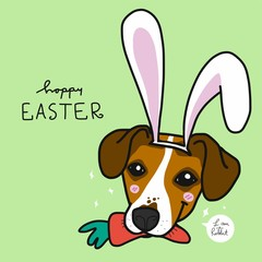 Jack Russell dog wearing rabbit ear and carrot in month for Easter cartoon vector illustration