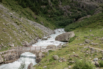 View closeup river scenes in mountains, national park Switzerland, Europe