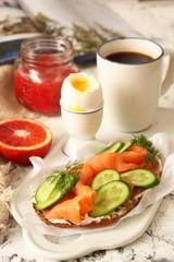 Healthy breakfast table