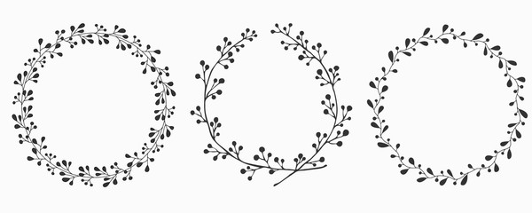 Hand drawn set of floral vector wreath. Illustration for greeting card, wedding invitation, logo, poster, tag, label.