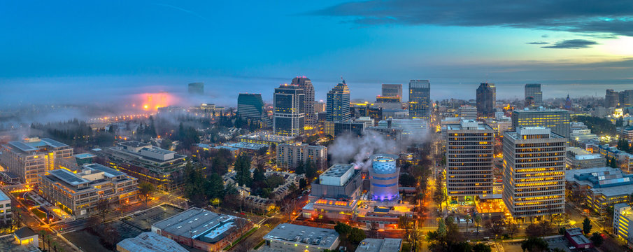 Aerial view of downtown Sacramento at sunset