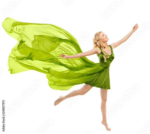 f05e78f9d6bf Happy Woman Dance in Flying Green Dress
