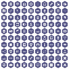 100 printer icons set in purple hexagon isolated vector illustration