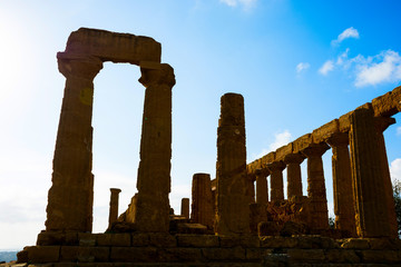 Abstract and conceptual of ancient Greece in Agrigento. The Greek Temple of Concordia, the ancient city of Akragas, located in the valley of the temples of Agrigento.
