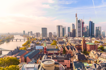 Panoramic view cityscape skyline of business district with skyscrapers during sunrise, Frankfurt am Main. Hessen, Germany