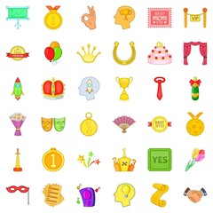 Winner icons set. Cartoon style of 36 winner vector icons for web isolated on white background