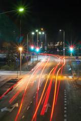 KOUVOLA, FINLAND - NOVEMBER 8, 2018: Long exposure photo. Night traffic on streets of Kouvola, Finland.